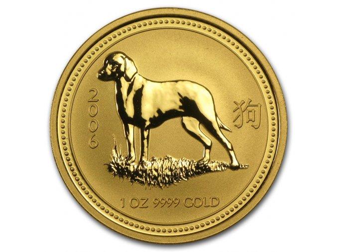 Investiční zlatá mince rok Psa 2006-lunární série 1 1/10 Oz