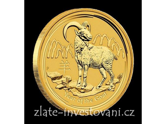 Investiční zlatá mince rok Kozy 2015 1/4 Oz