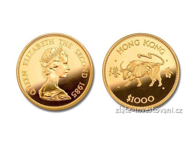 3119 zlata mince rok byka 1985 lunarni serie honkong 1 2 oz