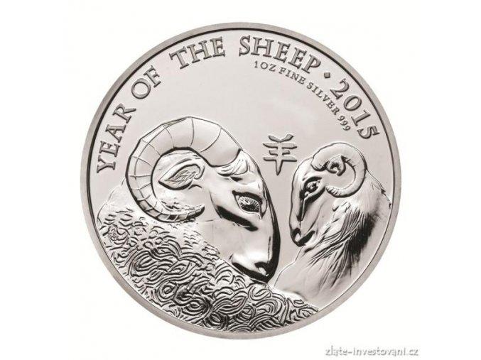 Stříbrná mince lunárního kalendáře rok Ovce-UK 1 Oz