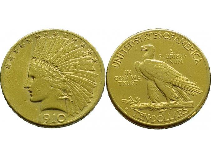Zlatý 10 dollar Indián 1910
