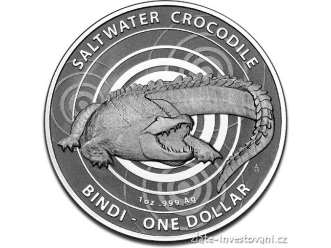 Investiční stříbrná mince krokodýl Bindi-2013 1 Oz