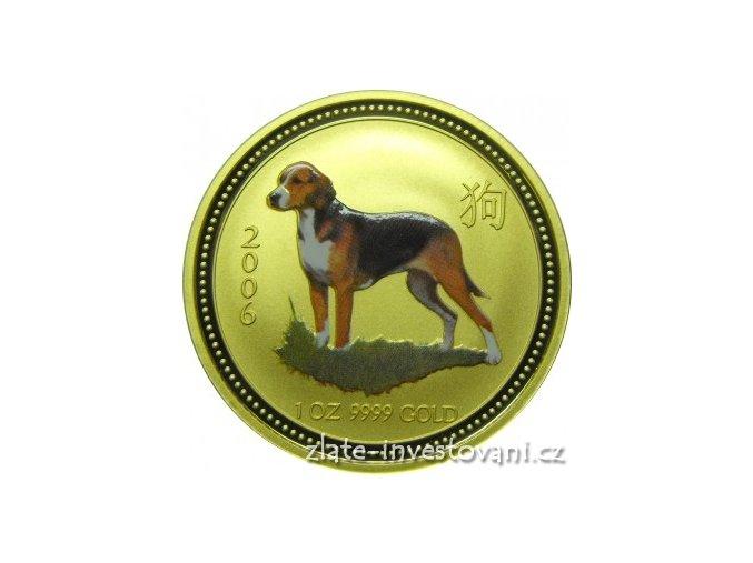 Zlatá mince rok psa 2006-kolorovaná verze 1/4 Oz