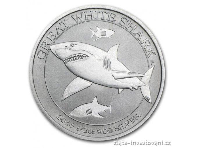 Investiční stříbrná mince žralok bílý 1/2 Oz