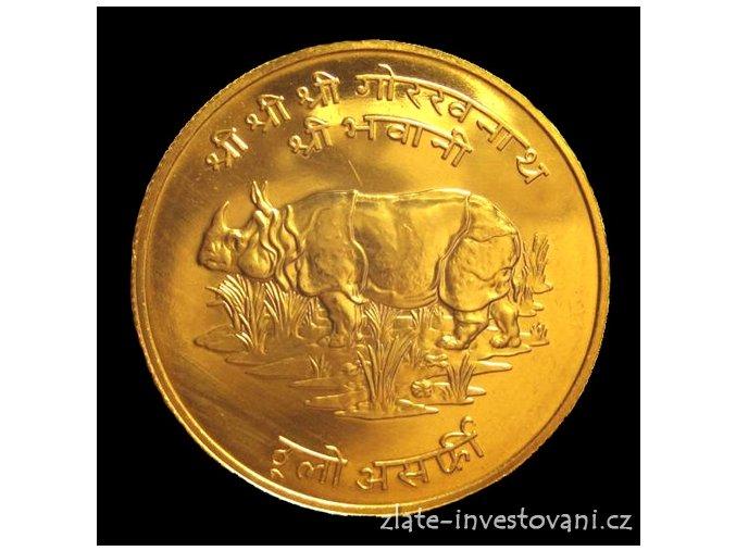 Zlatá mince nosorožec indický Nepál 1000 rupii 1974