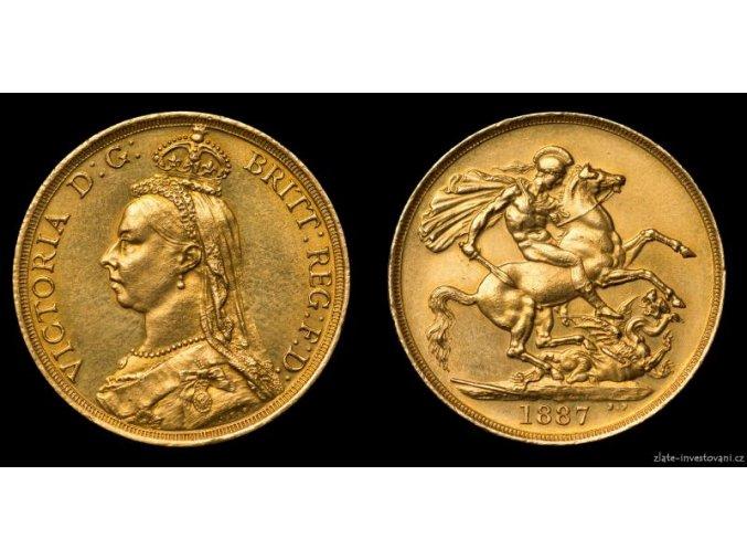 Zlatá mince britská Dvoulibra-Victoria 1887