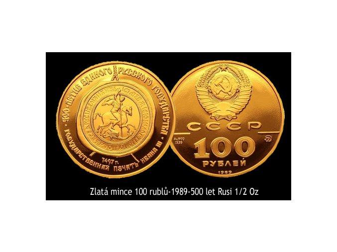 Zlatá mince 100 rublů-1989-500 let Rusi