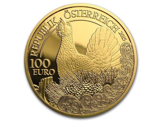 Zlatá mince 100 Eur-Tetřev-rakouská série Wild life  2015 1/2 Oz
