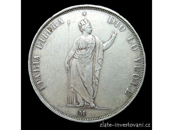5054 stribrna 5 lira 1848 revolucni milanska razba lombardia