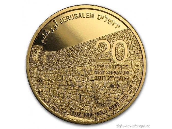 Zlatá mince série Zlatý Jeruzalém-Západní stěna 2011 Proof 1 Oz