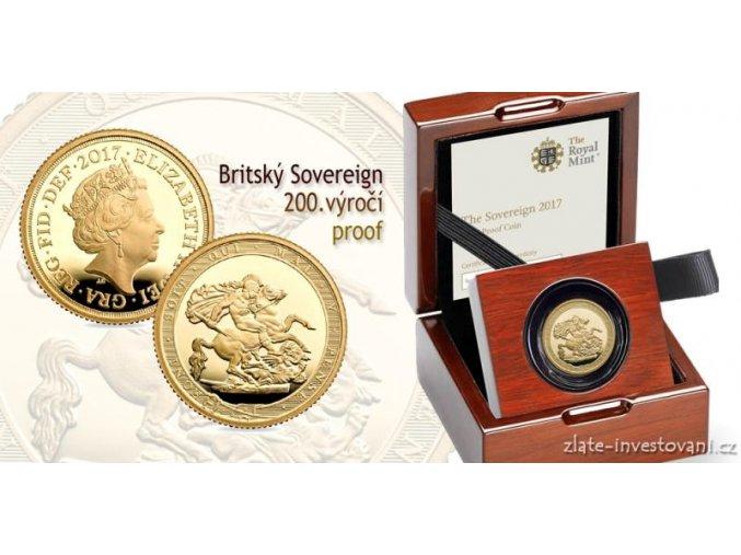 5558 zlaty sovereign proof 200 vyroci mince 2017
