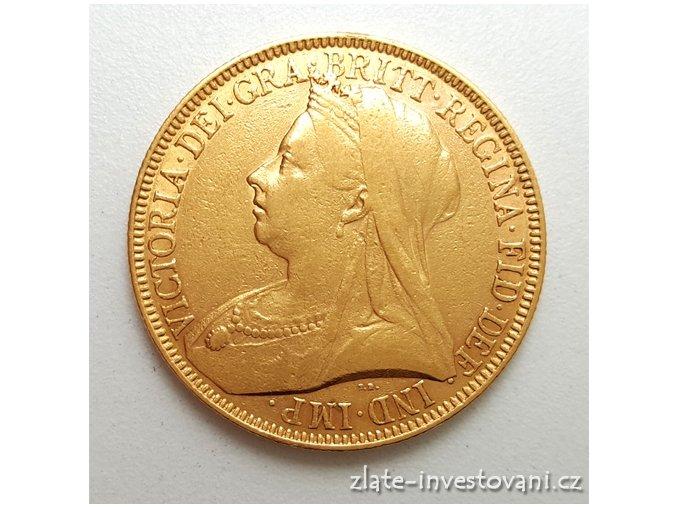 5633 zlata mince britska dvoulibra victoria 1893