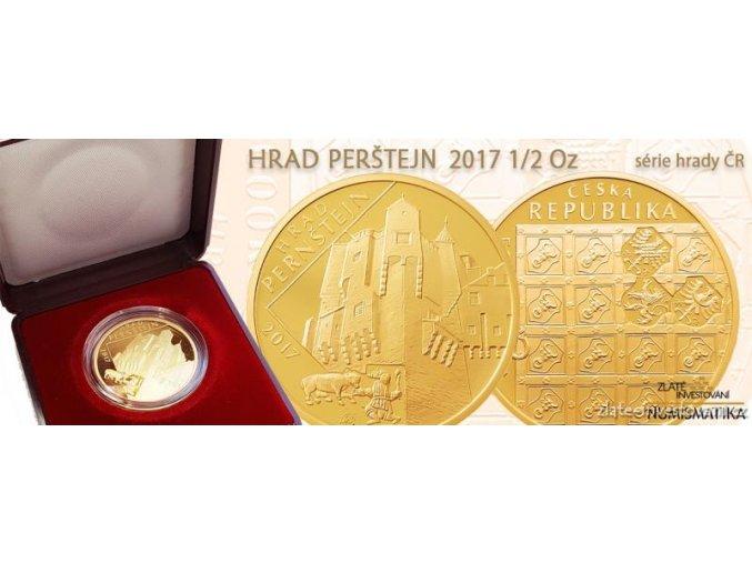 5705 1 zlata mince hrad pernstejn 2017 proof serie hrady