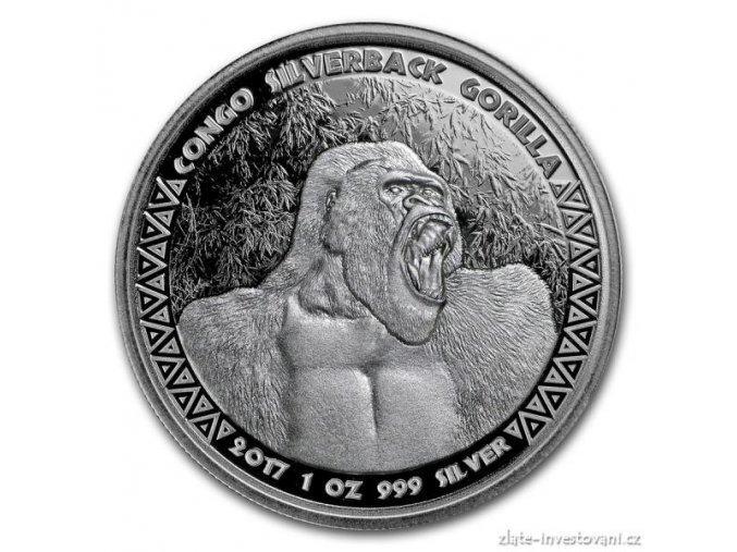 Investiční stříbrná mince Gorila 2017-Kongo 1 Oz
