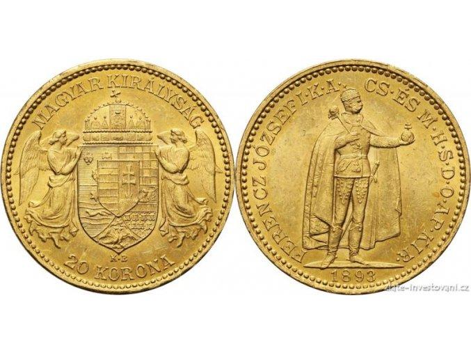 Zlatá mince Dvaceti koruna Františka Josefa I.uherská ražba 1893