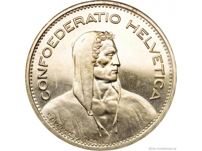 6257 stribrny 5 frank konfederace svycarsko 1967 b