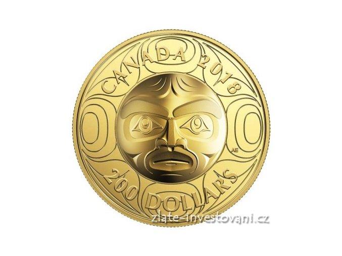 Zlatá mince měsíční maska 2018-Moon Mask Kanada -vysoký reliéf