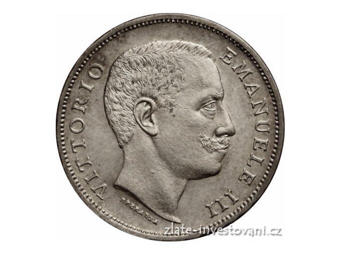 6425 stribrna italska 1 lira vittorio emanuele iii 1907