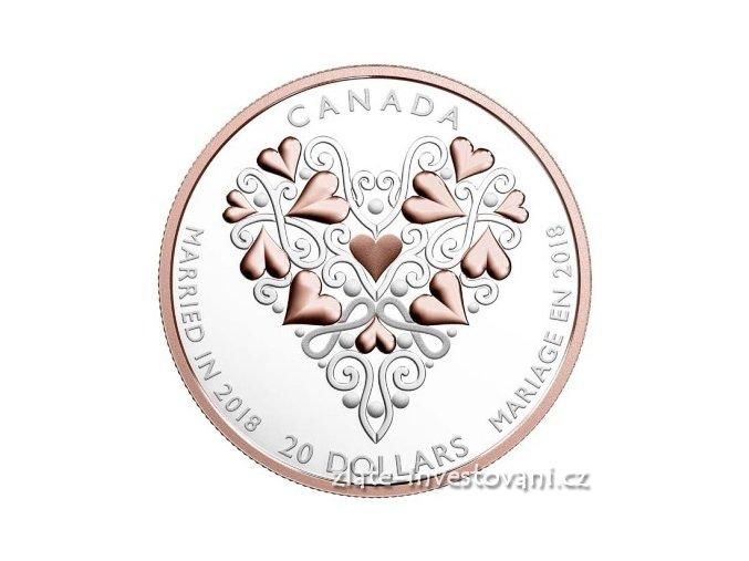 6470 stribrna svatebni mince 2018 kanada 1 oz