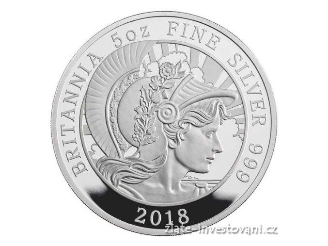 6485 stribrna mince britannia 2018 silver proof 5oz