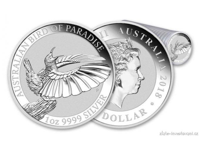 Stříbrná investiční mince Bird od Paradise 2018-Rajka 1 Oz