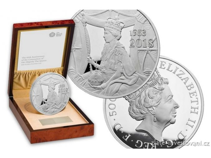 6650 stribrna mince sapphire coronation 2018 silver proof 1 kg
