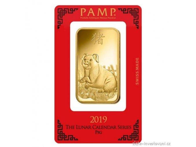 Investiční zlatý slitek PAMP Rok vepře 2019 100g