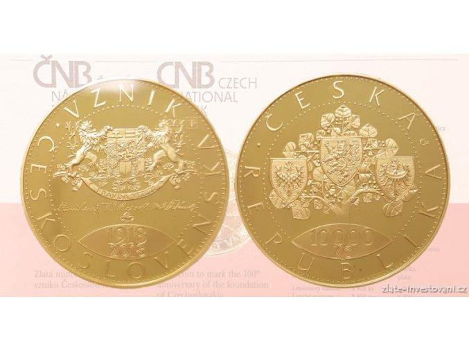 Zlatá mince 1 Oz-100. výročí Československa -10 000 korun-mimořádná ražba -BK