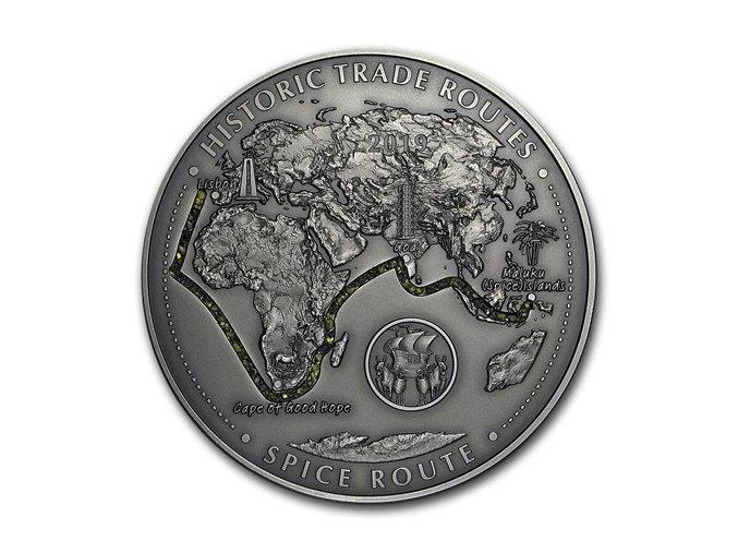 Stříbrná mince 5 Oz Kamerun-Historické obchodní cesty-Spice route 2019-cesta koření