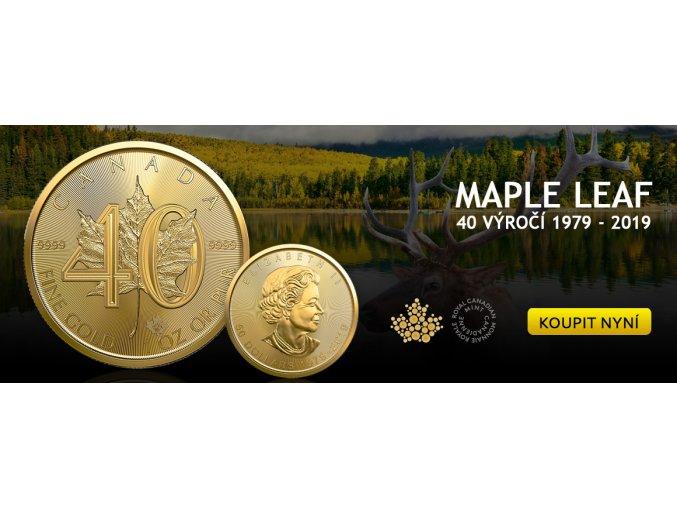 Investiční zlatá mince Kanadský Maple Leaf 1 Oz-40.výročí 2019
