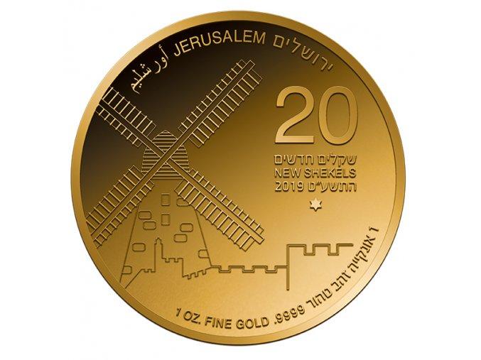 Zlatá mince série Zlatý Jeruzalém- Větrný mlýn 2019 1 Oz