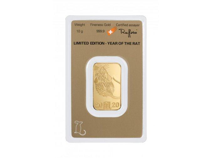 Investiční zlatá cihla Argor Heraeus-rok Krysy 2020 limitovaná edice 10g