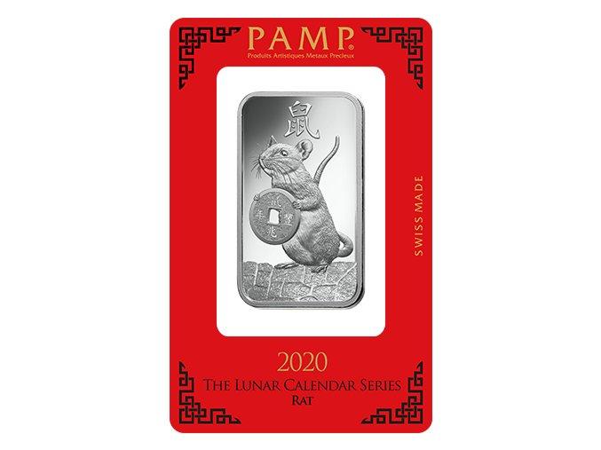 Investiční stříbrný slitek rok Krysy 2020-PAMP Švýcarsko 1 Oz