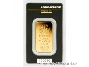 Investiční zlatý slitek Argor Heraeus 1 Oz