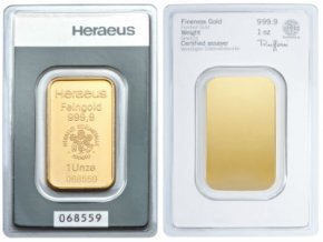 Investiční zlatý slitek Heraeus 1 Oz