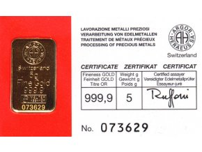 Zlatá investiční cihla Argor Heraeus 5g -Švýcarsko