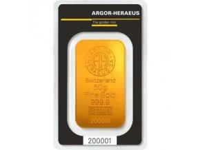 Investiční zlatý slitek Argor Heraeus 50g