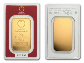 Investiční zlatý slitek Münze Österreich 50g