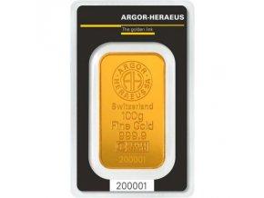 Investiční zlato-investiční zlatá cihla 100g Argor Heraeus