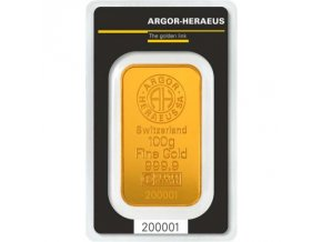 Investiční zlatý slitek Argor Heraeus 100g