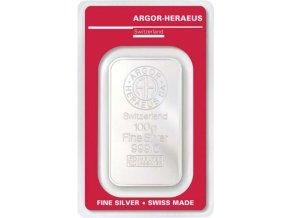 Investiční stříbrný slitek Argor Heraeus 100g
