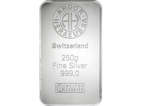 Investiční stříbrný slitek Argor Heraeus 250g