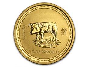 Investiční zlatá mince rok Vepře 2007 1/2 Oz