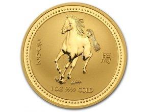 Investiční zlatá mince rok koně 2002-lunární série 1 1/10 Oz