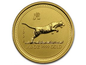 Investiční zlatá mince rok Tygra 1998 1/20 Oz