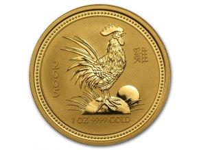 Investiční zlatá mince rok Kohouta 2005 1/4 Oz