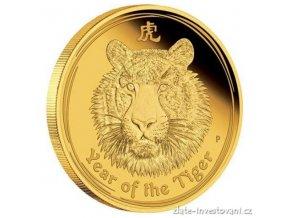 Investiční zlatá mince rok Tygra 2010 1/20 Oz