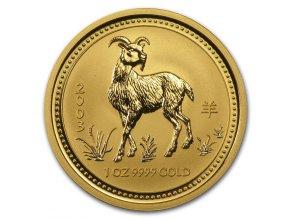 Investiční zlatá mince rok Kozy 2003 1/10 Oz