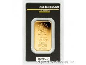 Investiční zlatý slitek Argor Heraeus-kinebar 1 Oz