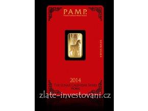 Investiční zlatý slitek PAMP rok koně 2014 5g